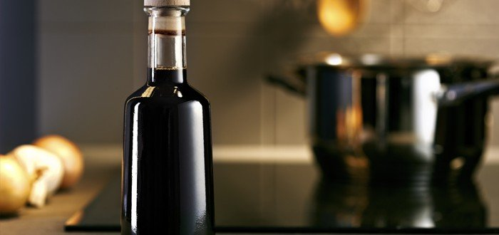 Balsamic vinegar bottle in a kitchen